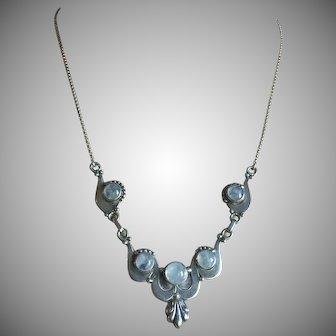 Vintage Moonstone Necklace Sterling Silver