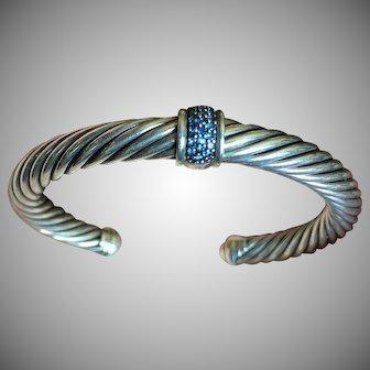 David Yurman Cable Bracelet Sapphire Pave Center Silver Cable 7 mm Size M