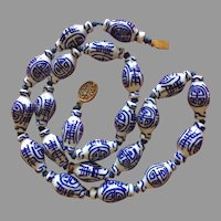 """Vintage Chinese Blue and White Hand Painted Porcelain Beads Necklace Elongated Shape 26"""""""