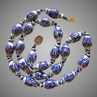 Vintage Chinese Blue and White Hand Painted Porcelain Beads Necklace Elongated Shape 26""