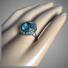 Art Deco Halo Aquamarine Paste Ring 18 mm Sterling Silver Adjustable Size