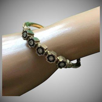 """14K Gold Diamonds Etruscan Revival Bracelet Oval Bangle Size 7 1/4"""""""