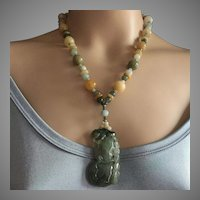 Heavy Fine Quality Jadeite Jade Pendant Necklace Natural Multi Colors Jade 112 grams