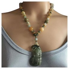 Heavy Fine Quality Jadeite Jade Pendant Necklace Natural Multi Colors Jade 112 grams