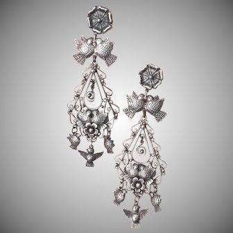 Mexican Wedding Earrings with Four Kissing Doves Silver Three Quivering Bird Charm Dangles 85 mm Frida Kahlo Style