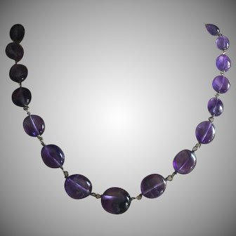 """Lively Violet Untreated Gem Quality Amethyst Polished Flat Oval Beads Necklace Sterling Silver 19"""" Long"""
