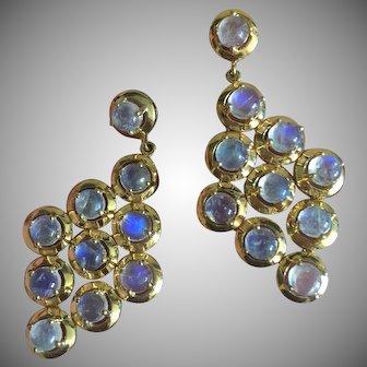 Glowing Blue Rainbow Moonstone Long Dangle Earrings 18K Gold on Sterling Silver Bridal