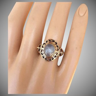 Lovely 18K Gold Star Sapphire Ring Natural Gemstone Heart & Arrow Setting Size 7