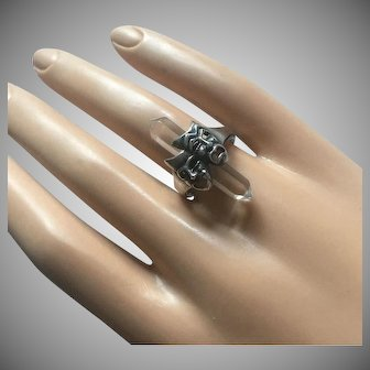 Art Deco Comedy Tragedy Masks Rock Crystal Spike Sterling Silver Ring Size 6.5