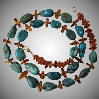 """Natural Blue Turquoise and Baltic Amber Bead Necklace 28.5"""" Circa 1980"""