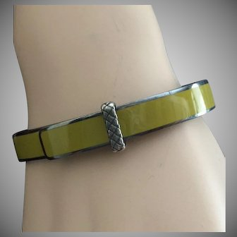 "Bottega Veneta Belt Buckle Bracelet Camomile Enamel on Oxidized Sterling Silver Hinged Bangle 7"""