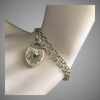 English Birmingham 9ct Gold Chain Bracelet or Necklace with Rolled Gold Padlock Charm Pendant