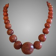 Chinese Graduated Red Apple Coral Hand Knotted Necklace 25 mm-8 mm Beads 91.3 grams