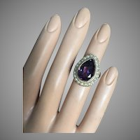 Beautiful 14K Gold Amethyst Seed Pearls Cocktail Ring 22 mm wide Size 6.5