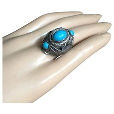 Poison Ring Real Blue Turquoise Stone Rich Leaf Design Taxco Mexico Silver Signed UNISEX Adjustable