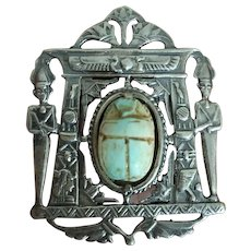 Art Deco Egyptian Revival Silver Pendant Pin with Egyptian Gods Pharaohs and Protective Scarab UNISEX