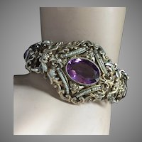 "Austro Hungarian Seven Amethyst Seed Pearls Gilt Silver Bracelet Renaissance Revival 43 mm wide 7.25"" long"