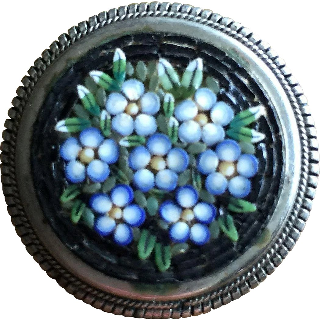 015f6617a Rare Antique Forget Me Not Flowers Italian Micro Mosaic in a Vintage :  Vintage & More | Ruby Lane