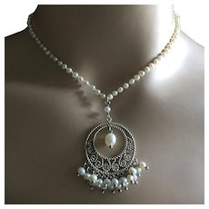 Dainty Baroque Pearl Necklace with Pearl Silver Pendant Wedding Bridal