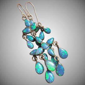 Blue Opal Sterling Silver Chandelier Drop Dangle Earrings 62 mm