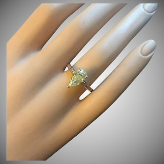 GRAFF 2.02 ct Fancy Light Yellow Diamond Pear Cut VVS1 18K Rose Gold 0.50 ct Pink Diamond Accent ENGAGEMENT RING GIA Certified GIA Engraved