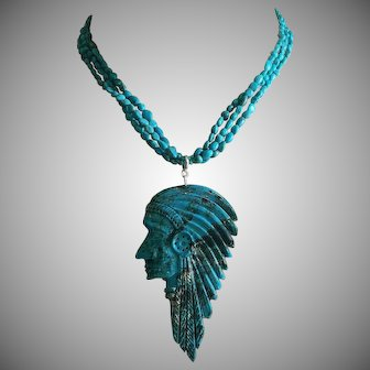 Hand Carved Natural American Turquoise Navajo Chief Head Large Pendant on American Turquoise Necklace