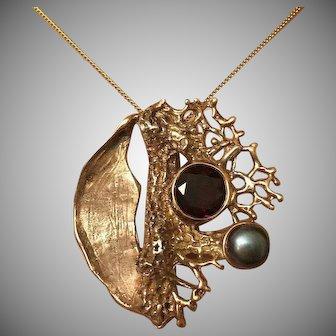 Brutalist Modernist 14K Rose Gold Garnet South Sea Pearl Pendant Slide Silver 40 mm SIGNED