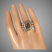 Tiffany & Co. 18K Gold Silver Sugarloaf Cabochon Citrine Cocktail Ring Size 7