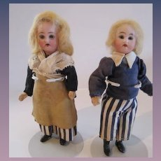 "Pair of 6 ¼"" French Dolls, All Original"