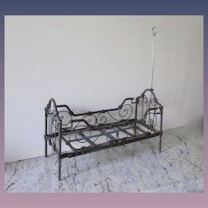 "Antique Iron Metal Canopy Doll Bed, 1880-1905, 12 1/2"" L"