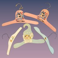 5 Vintage Child's Wooden Hangers