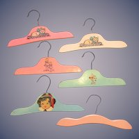 5 Vintage Child's Wooden Clothes Hangers, 1930's