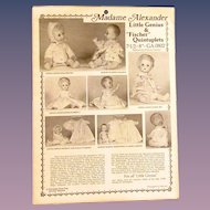 Vintage Pattern for Madame Alexander Little Genius & Quintuplets Dolls