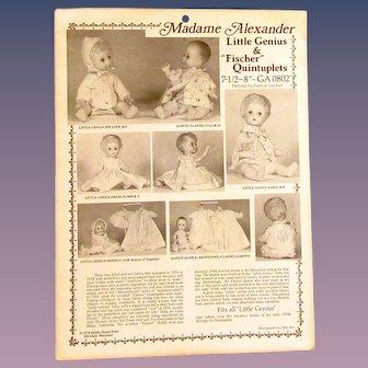 Vintage Pattern for Madame Alexander Little Genius & Quintuplets Dolls