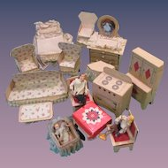 Cardboard Dollhouse Furniture - 3 rooms w/family