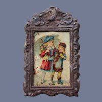 Vintage Metal Framed Picture of Girl with Doll