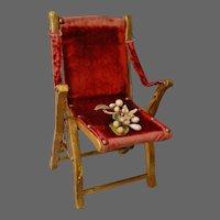 Gilded Salon Folding Chair with Crimson Velvet Upholstery
