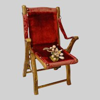 Gilded Salon Folding Chair with Crimson Velvet Upholstery