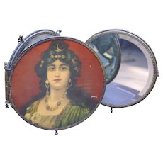Ornate Triple Beveled Mirror with Portraits