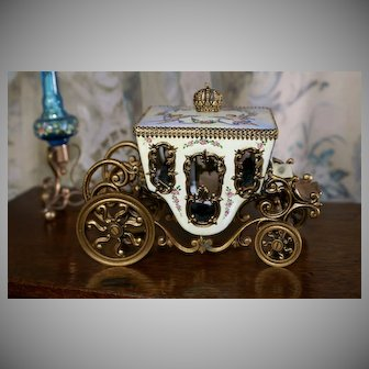 "Beautiful Austrian Enamel Bronze Carriage c. 1885 "" Putti and Flora Scenes"""