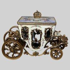 "Beautiful Austrian Enamel Bronze Carriage c. 1885 "" Putti and Flora Scenes"""