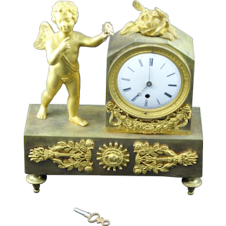 Gilded Bronze  French Regency Period-Petite Mantle Clock