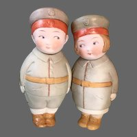 Adorable Pair 5 inch Googlies -All Bisque