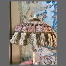 French  Fringed Parasol w/ Ornate Handle