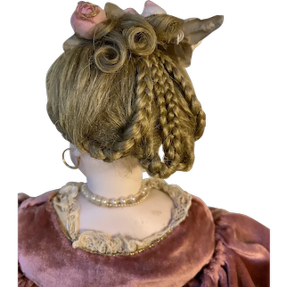 """Gorgeous 6 3/8ths inch Mohair Wig """"Updo"""" by DSB"""