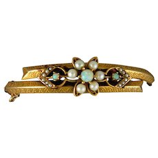 14 Karat Yellow Gold Opal and Cultured Pearl Bracelet