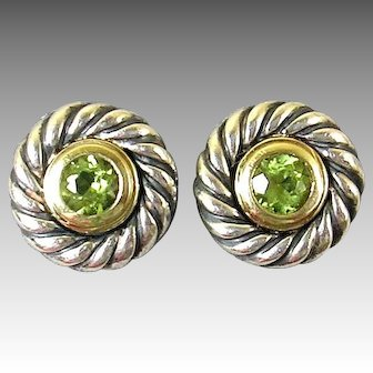 David Yurman Sterling Silver and 14 Karat Gold Peridot Earrings