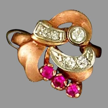 14 Karat Rose Gold Diamond and Synthetic Ruby Retro Ring