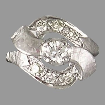 Mid 20th Century 14K white gold diamond ring