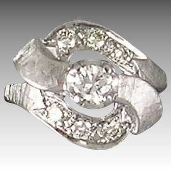 Mid 20th Century 14K white gold diamond ring